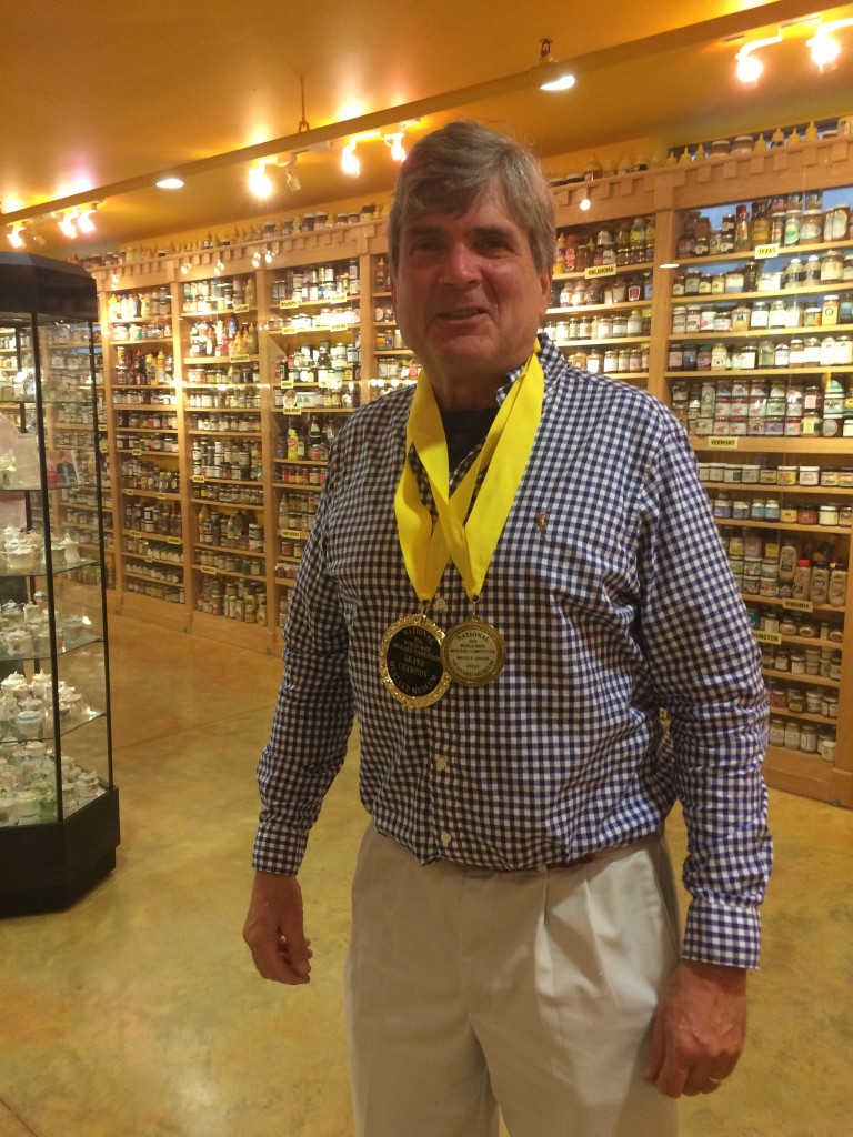 Will wearing the Gold Medal for Coarse Grained mustards, and the Grand Champion medal for the World Wide Mustard Competition!